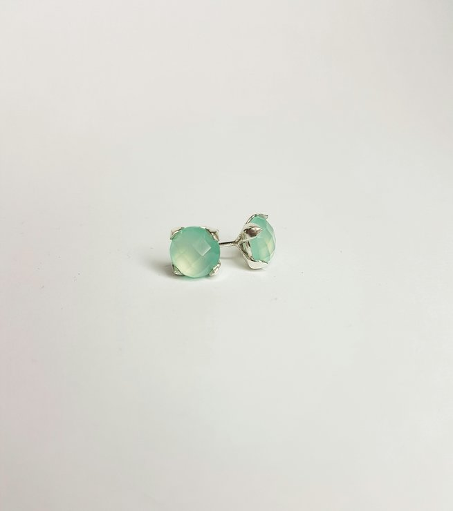 Blue Chalcedony Leaf Studs by Reverie Designs- Jewellery Design and Manufacture