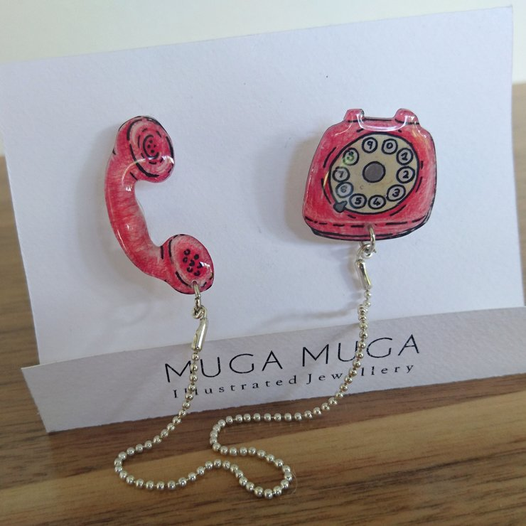 Retro phone double pin by Muga Muga Handmades