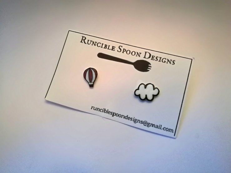 Hot-air balloon and cloud earrings by Runcible Spoon Designs