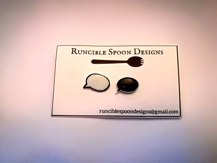 Speech bubble earrings by Runcible Spoon Designs