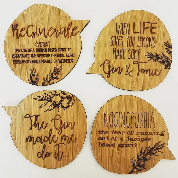 Quirky Gin Bamboo Coasters by HALLO JANE