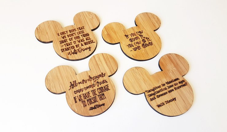 Disney inspired bamboo coasters by HALLO JANE
