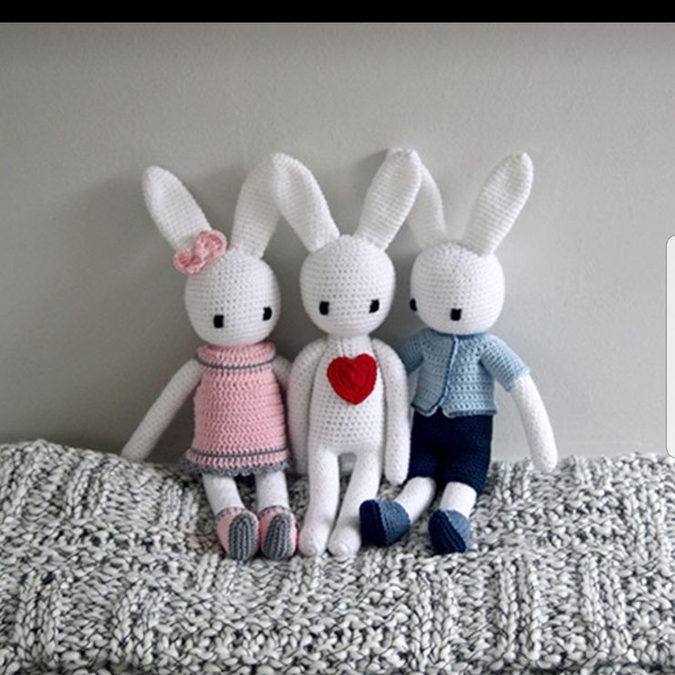 Girl Bunny Boy Bunny and Love Bunny by Ruby & Rose Crochet