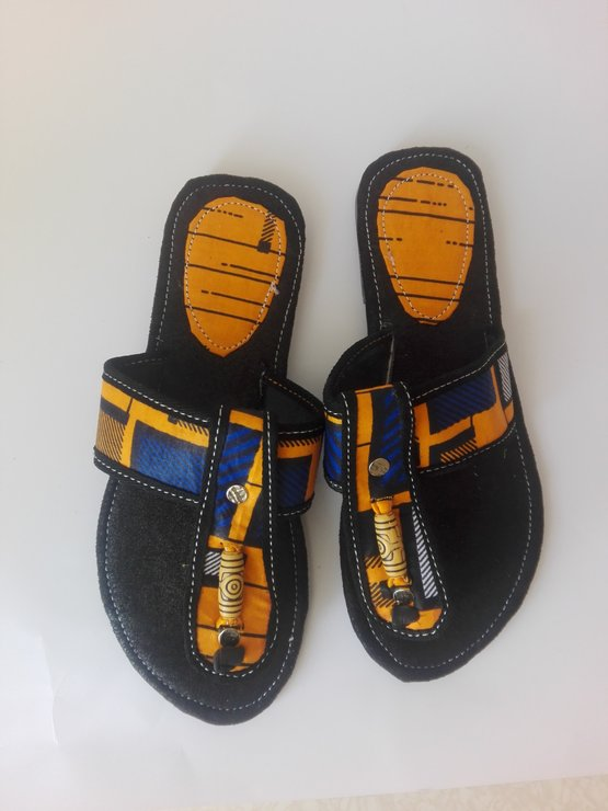 African Fabric Yellow Sandals by Trendy Native