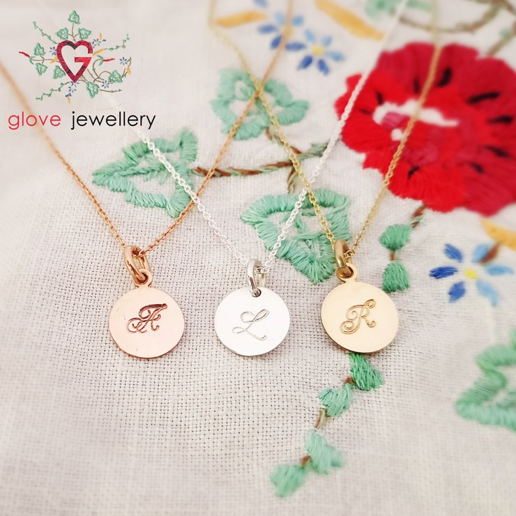 Sterling silver , rose gold plated or yellow gold plated custom hand stamped initial disc necklace by GloveJewellery