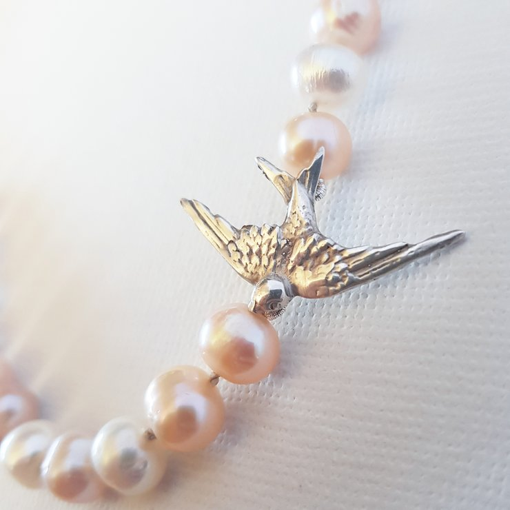 Fresh water pearl and swallow necklace  by RubyRose Jewellery