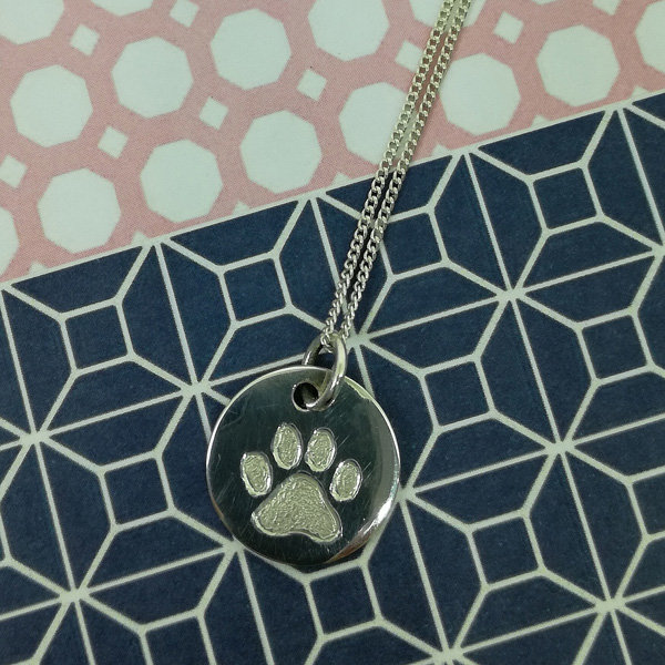Paw Engraved Necklace, Animal Lover Gifts, Gifts for her, Dog Lover Gifts, Cat Lover Gifts by Swish Jewellery Studio
