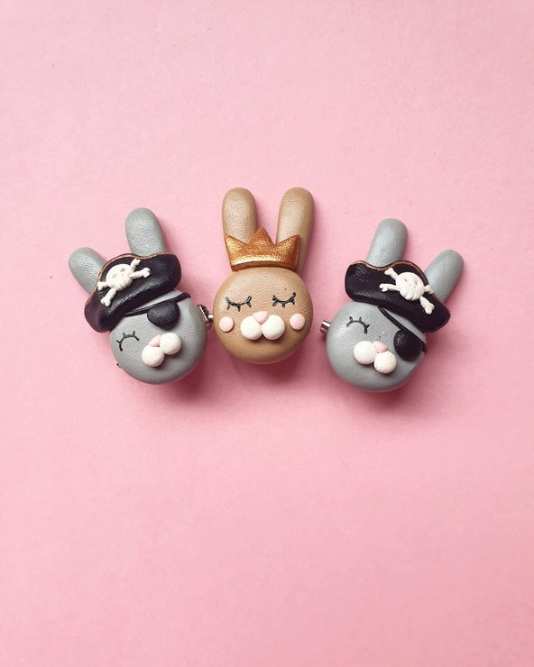 Pirate Bunny Brooch by turkey dimple
