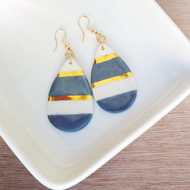 Large Drop Earring with Blue and Gold by Create Ceramics