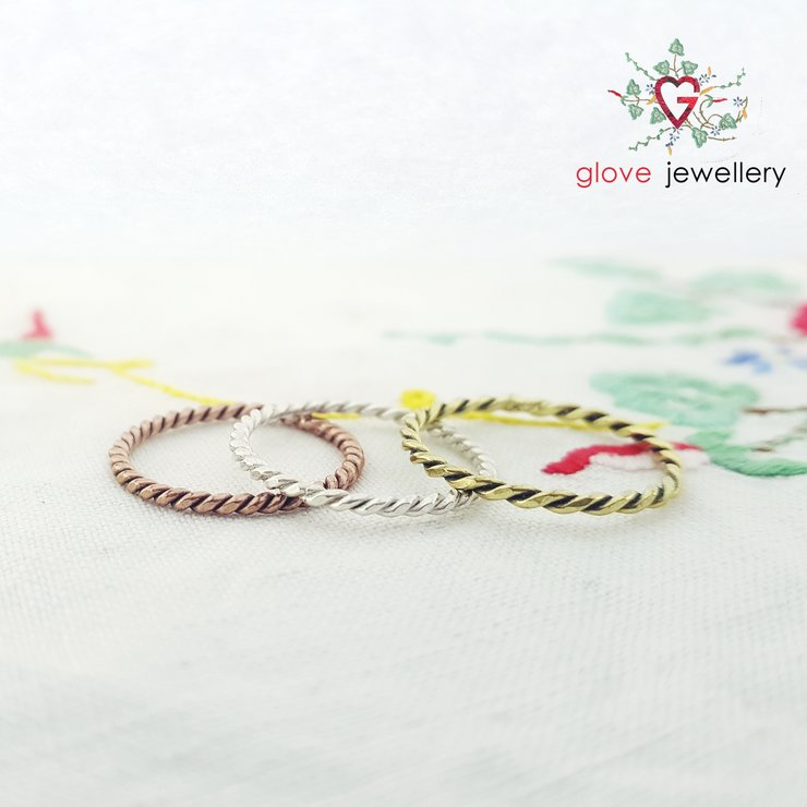 Handcrafted sterling silver, brass or copper twisty ring by GloveJewellery