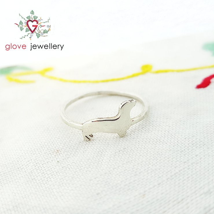 Handcrafted sterling silver, brass or copper dachshund ring by GloveJewellery