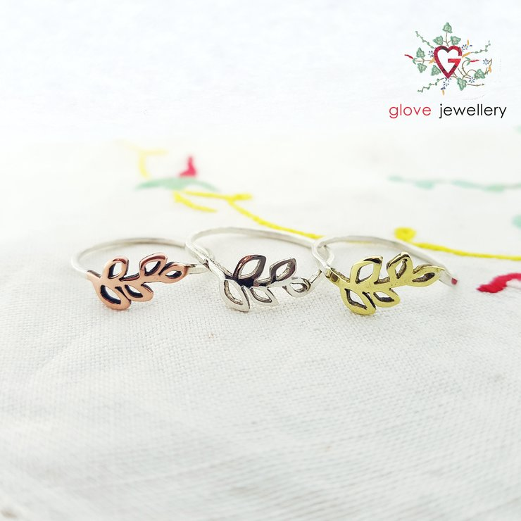 Handmade sterling silver, brass or copper leaf rings by GloveJewellery