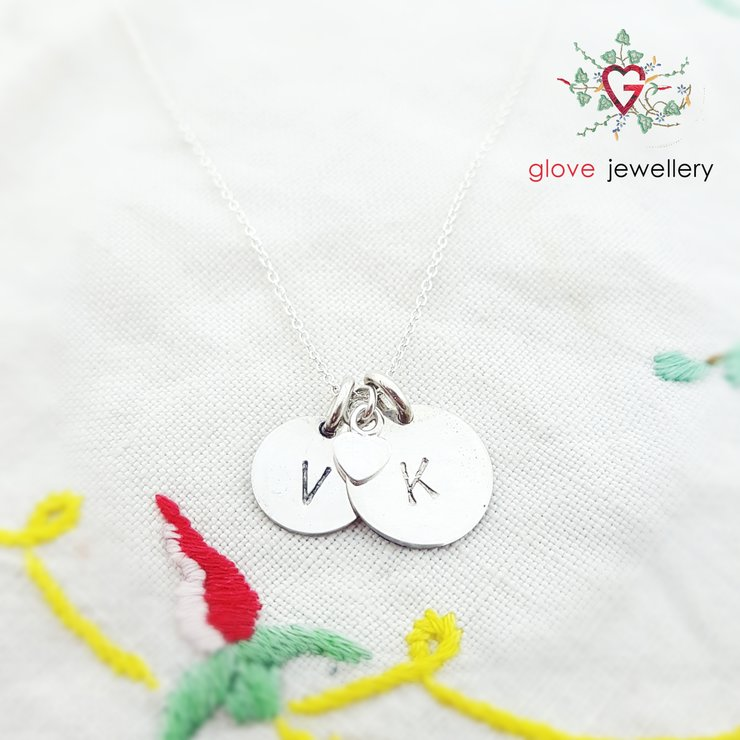 Handcrafted Sterling silver double signet disc with heart charm necklace by GloveJewellery