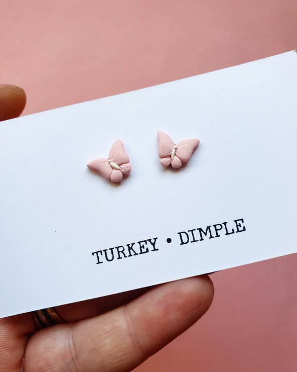 Pink Butterfly studs by turkey dimple