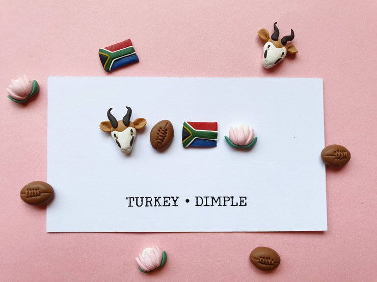 Proudly South African Mismatch Stud set by turkey dimple