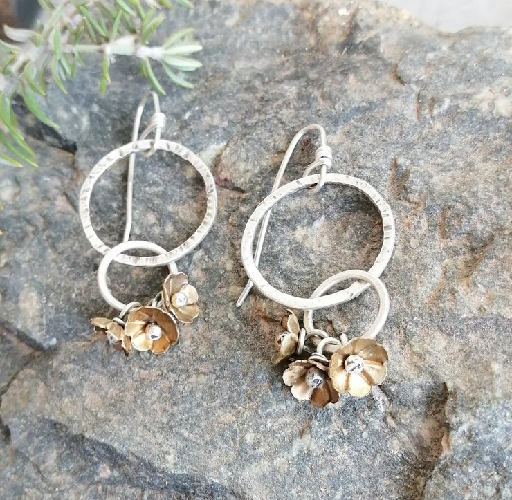 Sterling Silver Hoop earrings with Brass Blossoms by Cecilia Robinson Jewellery