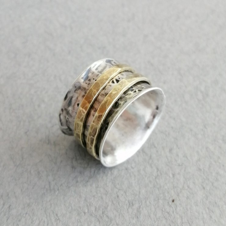 Stirling Silver Ring with two Brass Spinners by Cecilia Robinson Jewellery