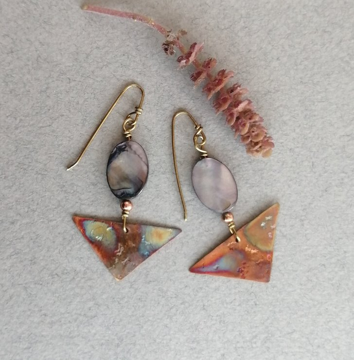 Copper and Mother of Pearl Earrings by Cecilia Robinson Jewellery