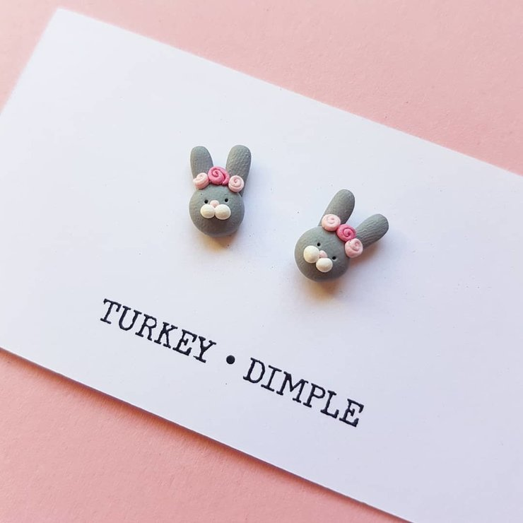 Grey Spring Bunny studs by turkey dimple