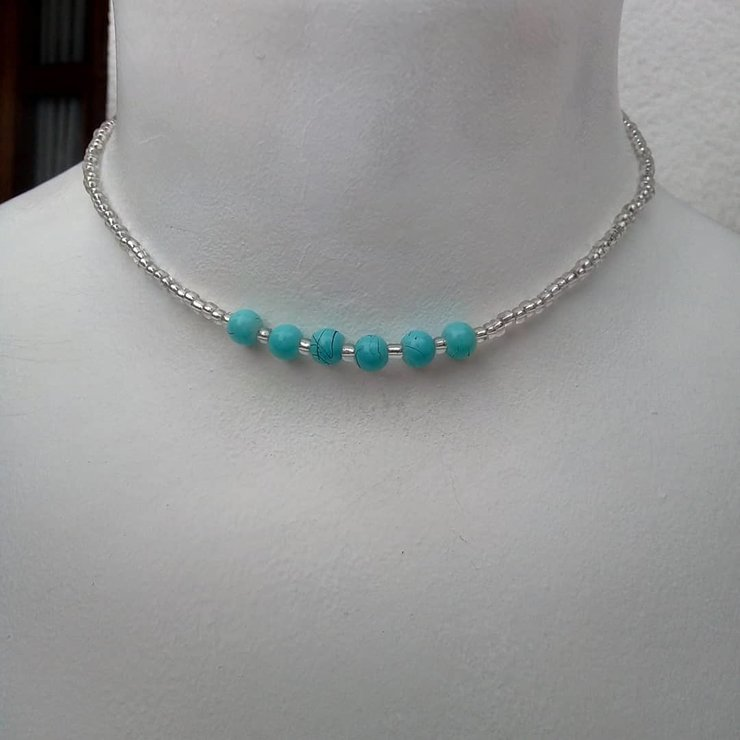 Blue Bead Necklace by S.Accessory