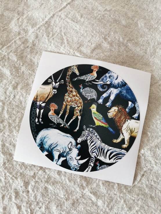 License disk sticker ~ Wild animals by CoralBloom Studio