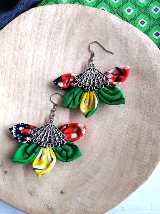 Green and Orange Lilitha Earrings by Noona Stylez