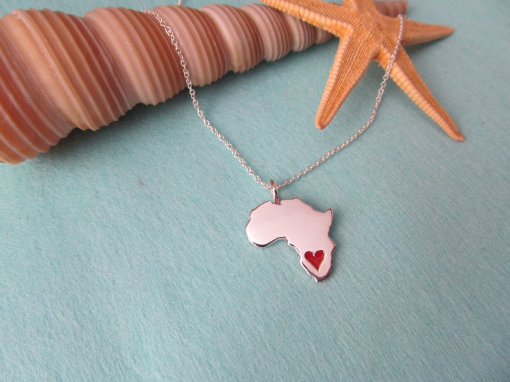 Sterling Silver Africa with resin Heart by Allure Handmade Jewellery