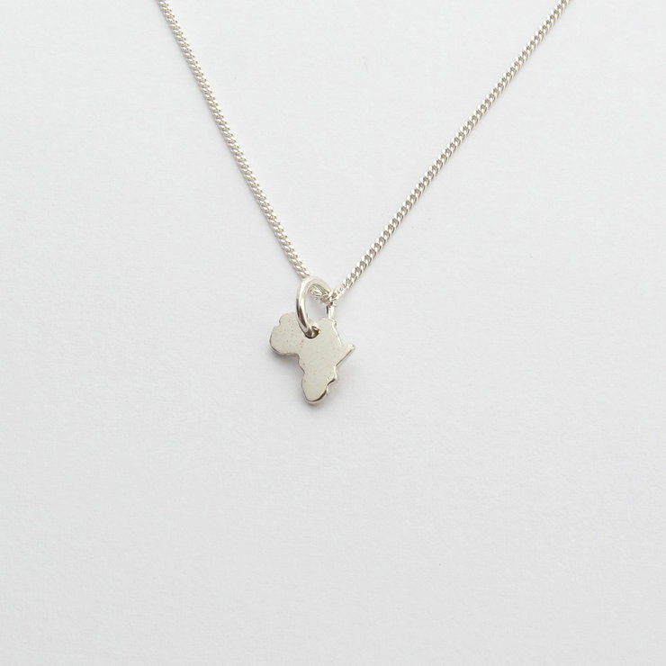 Tiny Solid Africa Pendant on Chain by Savage Jewellery
