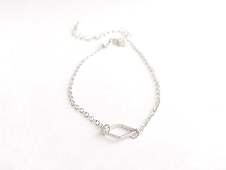 Silver Diamond Outline Bracelet by Haute and Tidy