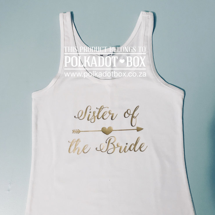 sister of the bride hen party tank top   by Polkadot Box