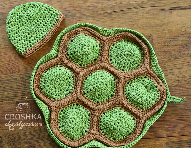 Crochet Turtle cape and beanie by Croshka Designs