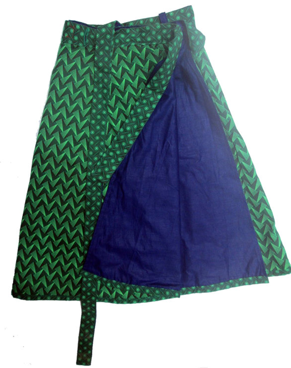 Reversible shweshwe wrap skirt by helgé original hand made fabric wallets and bags