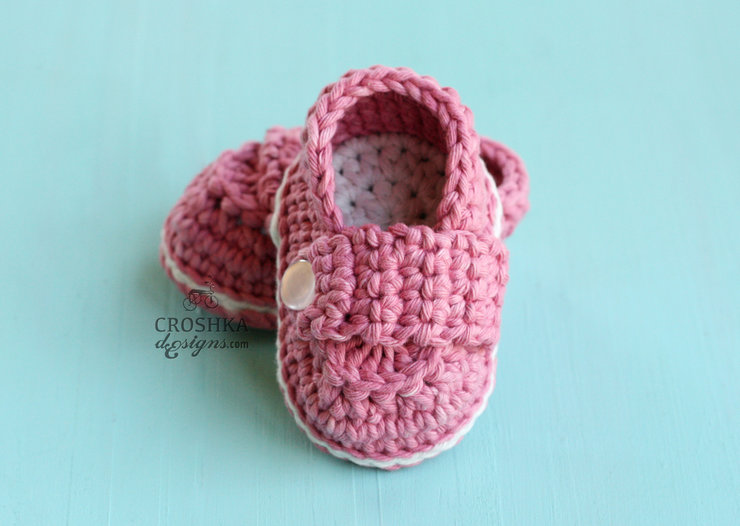 Beautiful Crochet handmade slippers with a wide strap  by Croshka Designs