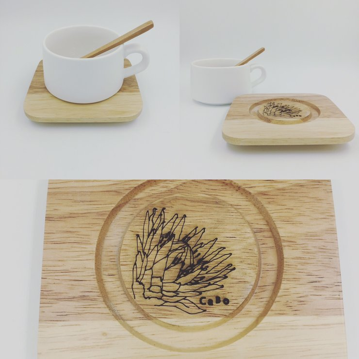 Matt White cup & timber saucer.  by Cabo Design
