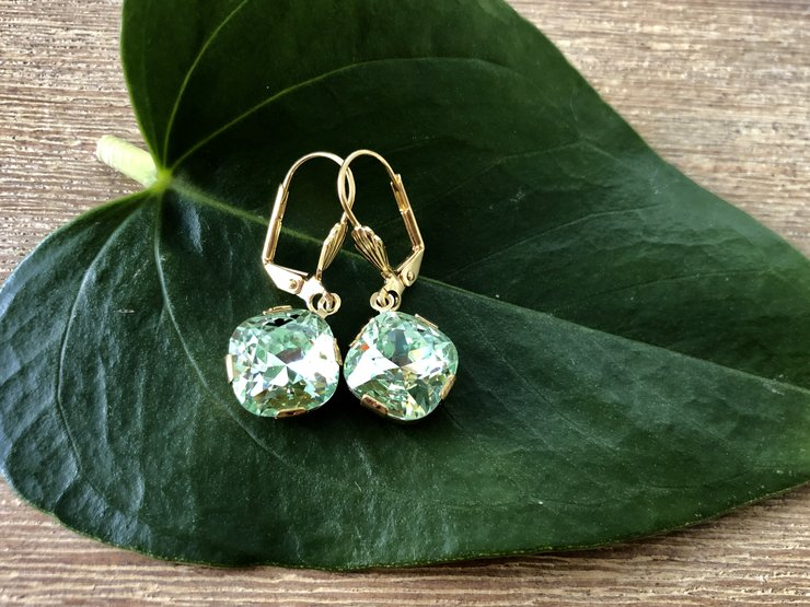 9388db6ba8392 Chrysolite Cushion Swarovski Crystal drop Earrings (Hypoallergenic)