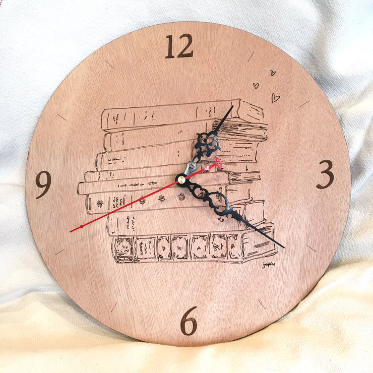 I love books wooden clock by Josephine Draws