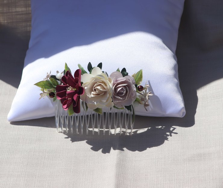 Hair comb-14 burgandy -grey-ivory by Timeless Memories