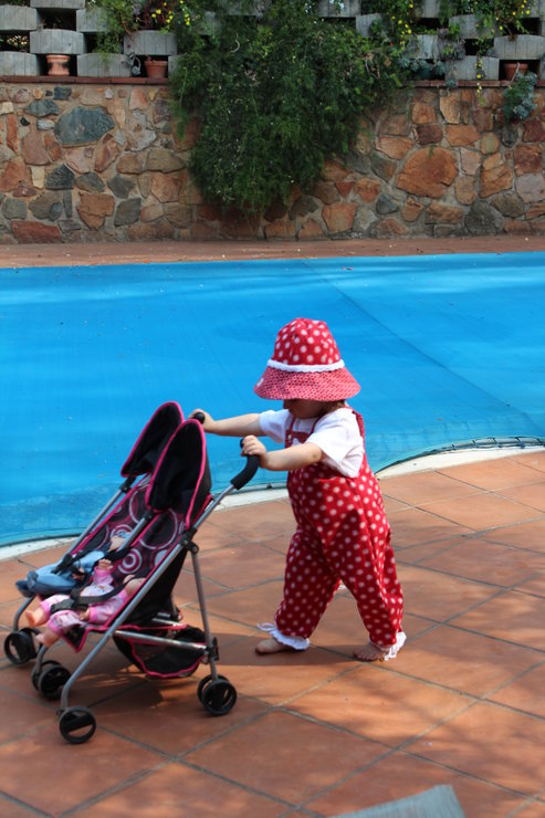 Red Baby dungarees with matching sun hat by JaxStar Handmade Clothing and Home