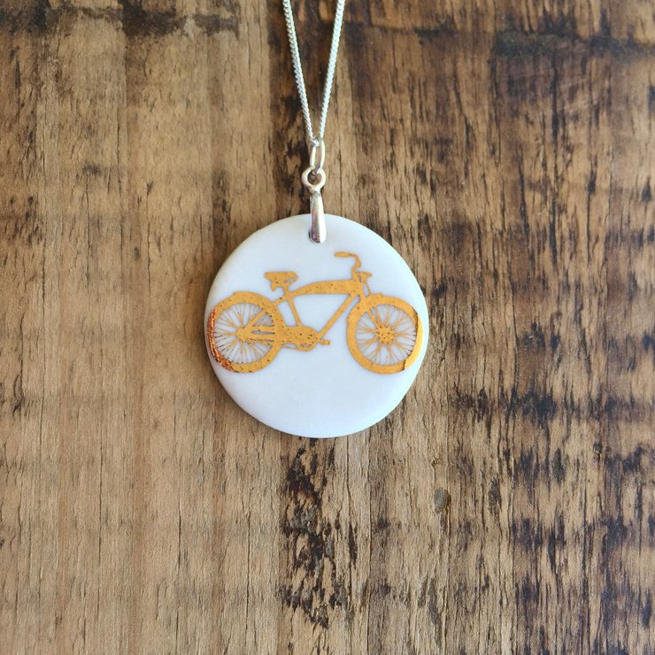 Gold Bike Necklace - Bomber by Artisan Ceramics