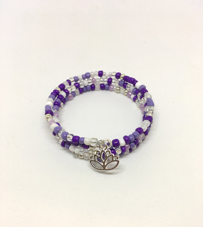 Lotus charm wrap bracelet - purple by The Bead Cart