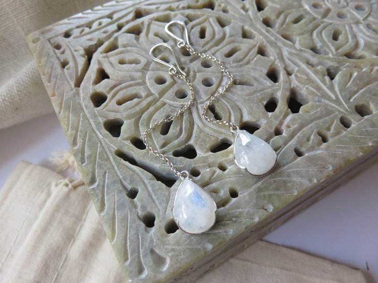 Rainbow Moonstone Sterling Silver Drop Earrings by Mignon Daubermann Jewellery Design