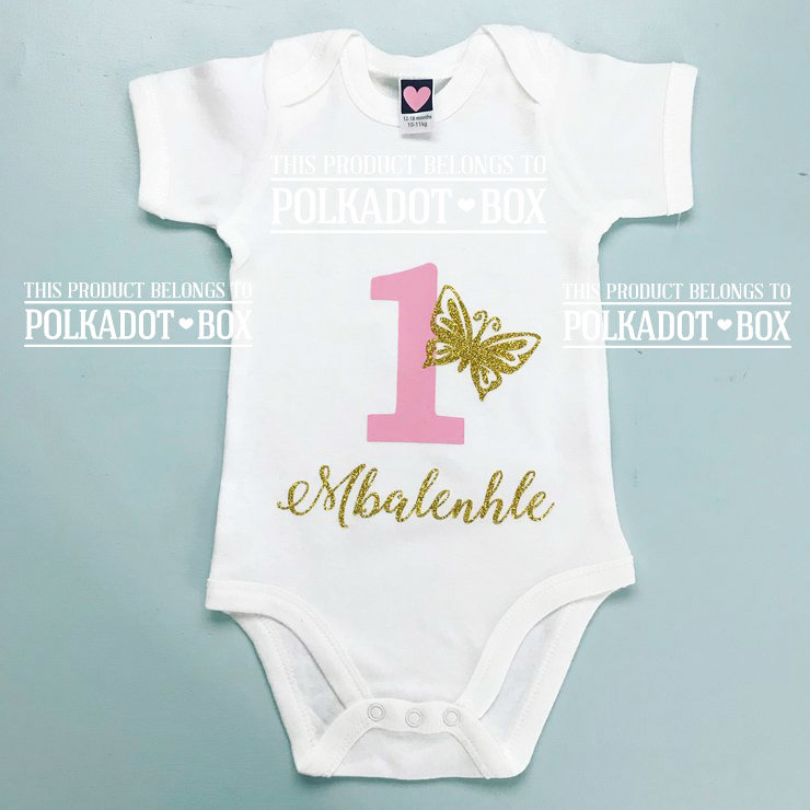 Custom 1st Birthday Onesie  by Polkadot Box