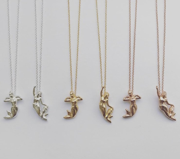 Gold plated mermaid necklace by Muchi Galoosh Jewellery