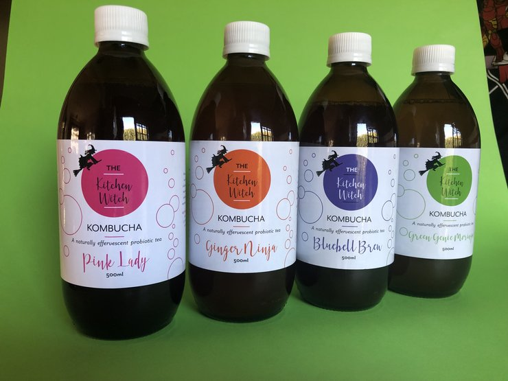 Kombucha (8X 500ml bottles - 2 of each flavour) by Kitchen Witch Brewing Co.