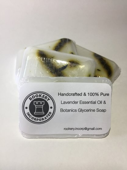 Glycerine Soap infused with Lavender Essential Oils and dried organic lavender by Rookery Inc