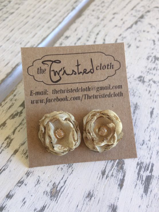 Chiffon Flower Earrings -  E001A by The Twisted Cloth