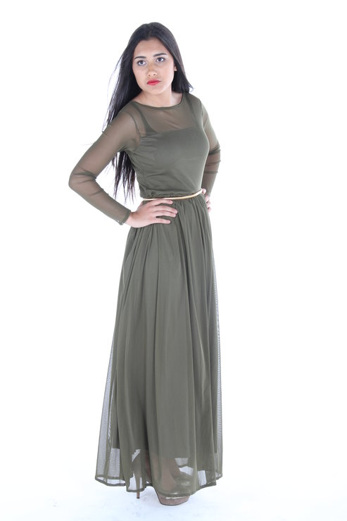 Long Grecian Mesh Dress by ThreadZ Clothing