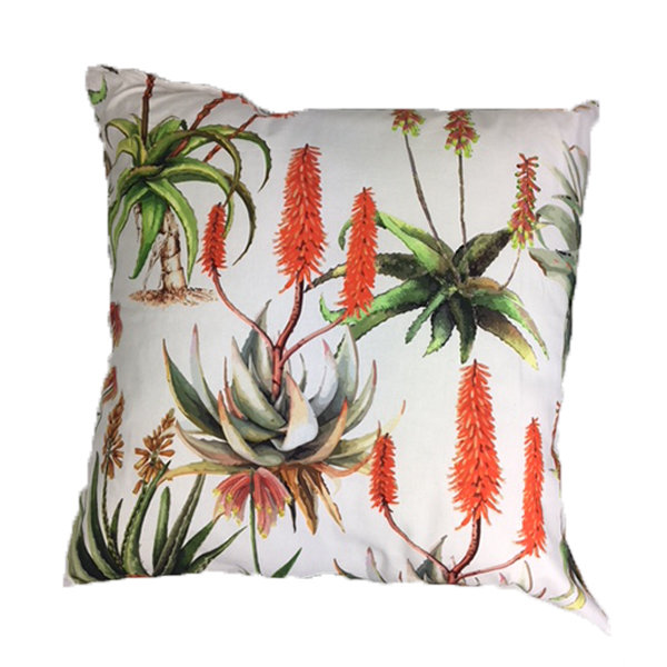 Aloes Cream Scatter Cushion 60cm x 60cm by Amore Home