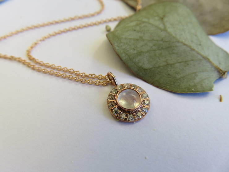 Raindow Moonstone and Moissanite Compass 9ct Rose Gold Necklace by Mignon Daubermann Jewellery Design