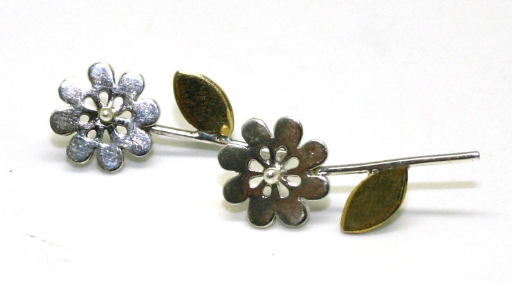 Pair of sterling silver and brass flower studs with leaves and stem by M.Y.Creations